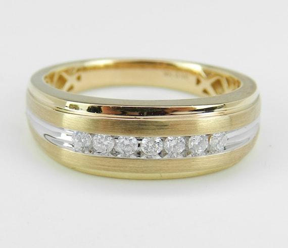 Mens Yellow Gold Diamond Wedding Ring Anniversary Band Size 10.25