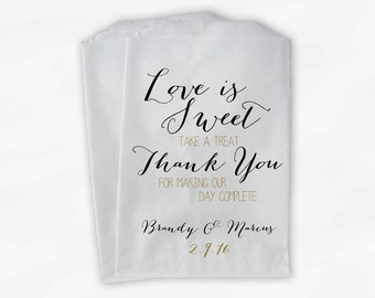 Love Is Sweet Our Day Complete Wedding Candy Buffet Treat Bags - Handwritten Favor Bags in Black and Gold - Custom Paper Bags (0169)