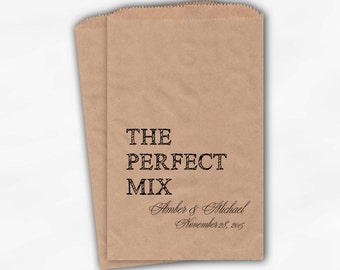 The Perfect Mix Candy Buffet Treat Bags - Black Personalized Wedding Favor Bags with Names and Date - Custom Kraft Paper Bags (0178)