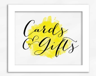 Cards and Gifts Print in Yellow - Watercolor Calligraphy Wedding Reception Sign for Gift Table (4001)