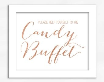 Candy Buffet Print in Copper Foil Look - Faux Metallic Calligraphy Wedding Reception Sign for Favors or Dessert Table (4002)