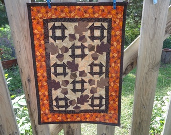 Fall Quilt,Churndash Wall Decorator Quilt with Oak leaves and Acorns 0906-07