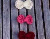 Crochet Hair Bows - Set of 3 - The Sweetheart Set