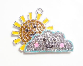 45mm Sunshine through the clouds Rhinestone and Enamel Pendant
