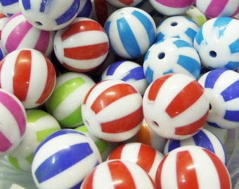 20mm 8CT Beach ball Chunky beads, Mixed Colors ONLY! F43
