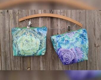 Cosmetic Bag / Toiletries Bag / Travel Bag / Wash-up / Laminated Cotton / Mint / Aqua / Leafy Cabbage Print / Purse Organizer / Medicine Bag