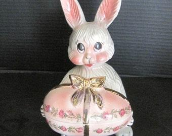 Vintage Easter Bunny Ceramic Candy Holder