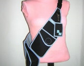 Custom Order RESERVED for Salieri Body Purse bike bag crossbody backpack Weatherproof fabrics in Black Light-blue