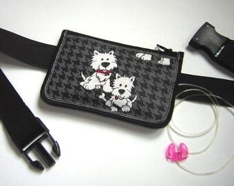 Insulin pump pouch diabetes pump case medical pack Zipper Belt Pump Cover adjustable rubber fabrics purse in gray white puppy