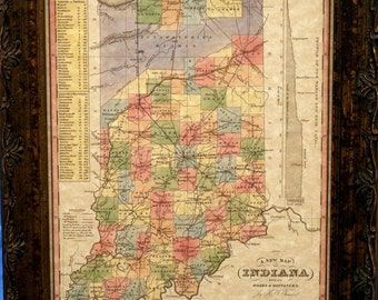 Indiana State Map Print of an 1833 Map on Parchment Paper