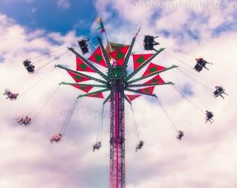 Swing Ride Photo, County Fair Photography, Retro Home Decor, Carnival Ride Photo, Childrens Room Decor, County Fair Art, Summer Photography