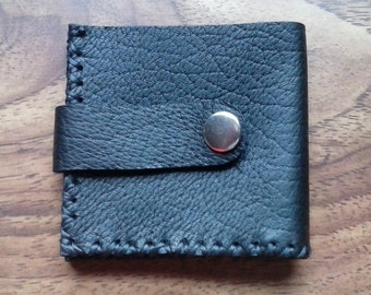 Premium Black Leather Snap Wallet- Handmade- Soft Wallet- Wallet- Made in the USA- Elusive Wolf