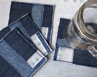 Recycled Denim Patchwork  Coasters, Set of 4