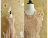 Vintage 1940s Nude Lace Rhinestone Dress  -Cinnamon and Sugar-