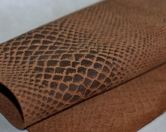 Rusty Brown  Genuine Leather ,  Snakeskin Print