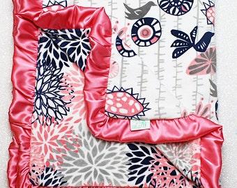 minky blanket, baby girl blanket, baby gift, floral, coral and navy minky, Custom minky blanket, coral blanket, baby girl blanket, dandelion