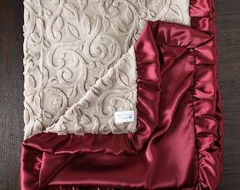 Minky Blanket, adult blanket, custom blanket, anniversary gift, tan and maroon, grandmother gift, Minky and satin blanket, custom blanket