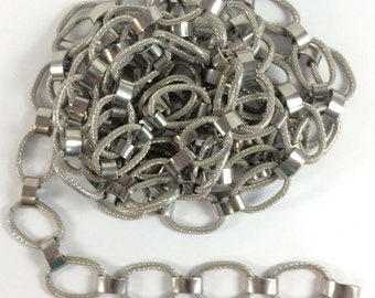 Vintage Belt Chain, Textured links, Vintage Jewellery Supplies, Pewter Plated, Jewelry Making, About 7 feet, B'sue Boutiques, Item08604