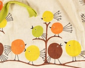 Vintage Danish Modern Apron with Silk Screened Birds Pattern