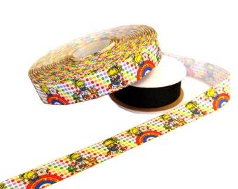 "Rainbow Brite - 7/8"" grosgrain ribbon - by the yard"