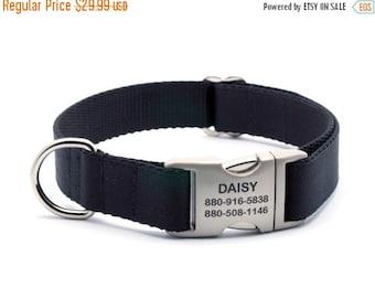 WINTER SALE 15% off Black Ribbon & Webbing Dog Collar with Laser Engraved Personalized Buckle