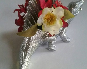 Dinosaur Small Planter in Silver - Office Decor - Great for Air Plants