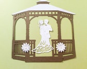 """Gazebo, Brownish-gold, White Bride & Groom, 2 White Flowerrs, 6 1/4"""" wide, 6 1/2"""" tall, Wedding, Cricut cut-out, Cardstock, Sizzix"""