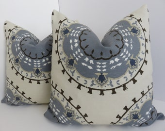 Grey Beige Pillow Covers, Brown Grey Pillows, Suzani Pillow Cover, Suzani Pillows
