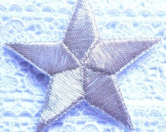 embroidered iron on applique star silver color
