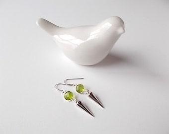 Peridot Dangle Earrings, August Birthstone Jewelry, Gift for Her, Silver Spike Earrings, Modern Jewelry
