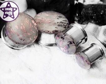 "Dissolution Faux Stone Plug Gauge Pink Black Natural Handpainted Shatter 0g, 00g, 7/16"" / 8mm, 10mm, 11mm"