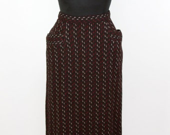 1950s Skirt // Black Red and White Wool Pencil Skirt with Hip Pockets