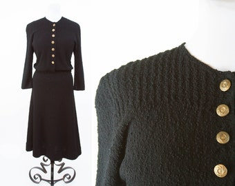 1940s Dress // Black Boucle Wool Cable Knit Dress with Brass Buttons