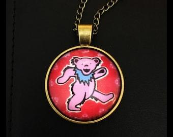 Grateful Dead Dancing Bear Glass Photo Cabochon Necklace