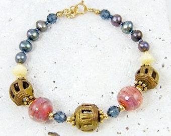 Tribal Bead Bracelet Bronze African Bead Bracelet Blue Pearl Bracelet Pink Borosilicate Glass Yellow Opal Semiprecious Gemstone Bracelet