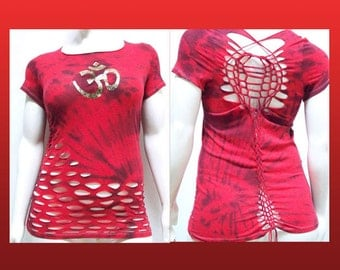SALE!!! 3XL - Juniors / Womens Cut Shirt Red Black Tie Dyed Golden Namaste, Shredded Top, Plus Size Cut up Top and Weaved,