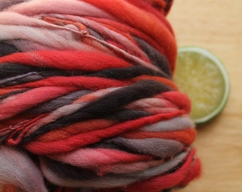Checkers - Handspun Wool Yarn Red Black Grey Thick and Thin Skein
