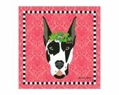Great Dane Pet Portrait Art Print Illustration Wrapped Canvas 12x12x.75