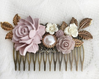 Mauve Wedding Comb Thisle Lilac Bridal Hair Slide Blush Pastel Purple Flower Comb Bridesmaids Hair Adornment Floral Hair Pin