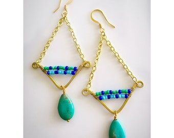 Azure Blue and Turquoise Chevron Shaped Brass Trapeze Dangle Earrings