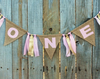 Burlap Birthday Banner for High Chair, First Birthday Banner 'ONE', custom high chair banner, High Chair Birthday Bunting