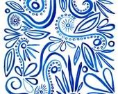 Blue Folk Pattern Wall Print - Archival