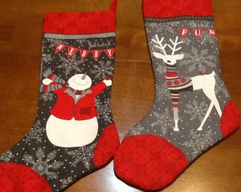 Christmas Stocking with Reindeer and Snowman