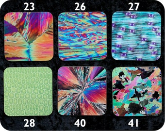 Unusual gift for a scientist - 6 Science coasters - choice from 18 chemistry, biology and rock thin section microscope images - science gift