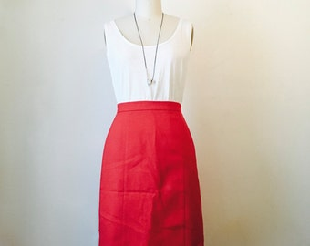 SALE  Vintage Red Knee Length Skirt