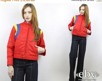 Vintage 80s Red Poofy Striped Ski Coat XS S Poofy Jacket 80s Ski Jacket Warm Coat Poofy Ski Jacket Puffer Coat Puffer Jacket