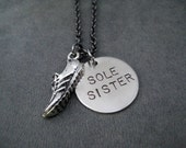 SOLE SISTER Round Pendant with Running Shoe Running Necklace on Gunmetal Chain - Running Buddy - Training Partner - Running Group - Fitness