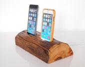RESERVED - iPhone 6 / iPhone 6s plus charging station / iPhone 5s charging station -  dual dock - barnwood