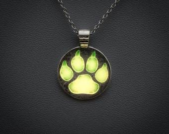 Glowing necklace - glow in the dark yellow paw pendant, glow jewellery, glowing jewelry, magical, fantasy, animals