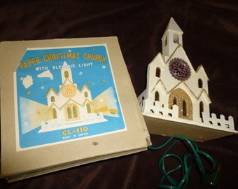 Christmas Paper Church Vintage White with Electric Light in Original Box